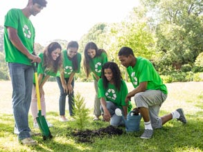Group of people planting a tree.